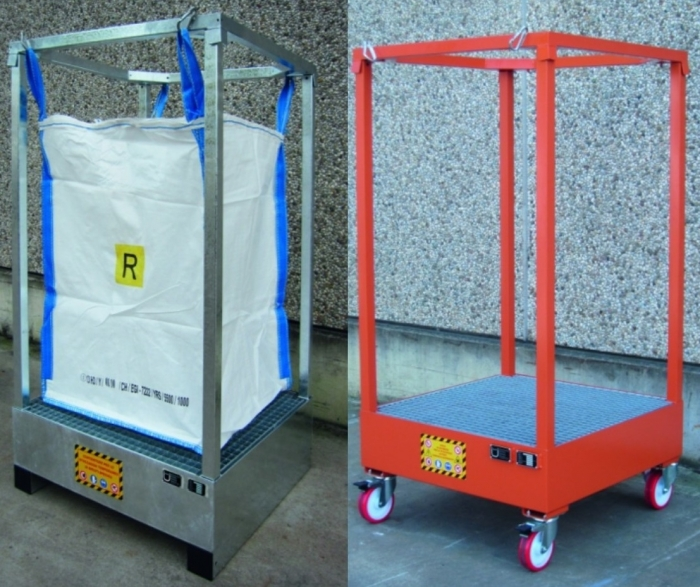 Demountable Holder with sump for FIBC Bulk Bags - Steps and Stillages