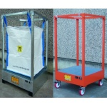 Demountable Holder with sump for FIBC Bulk Bags on wheels