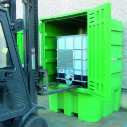 Polyethylene Storage Cabinet with sump for IBC forklift