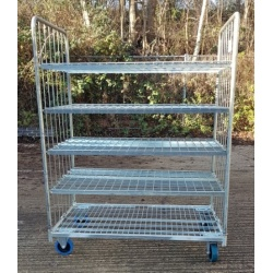 Used 4 Shelf Roll Cage Trolley with wheel brakes