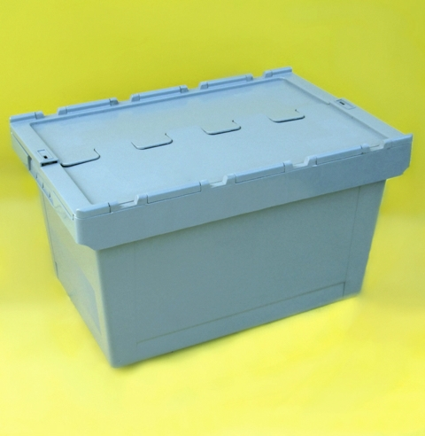Plastic Tote Boxes With Attached Lid Steps And Stillages
