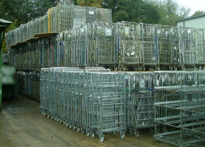 Used Roll Pallets and Roll Cages Nested
