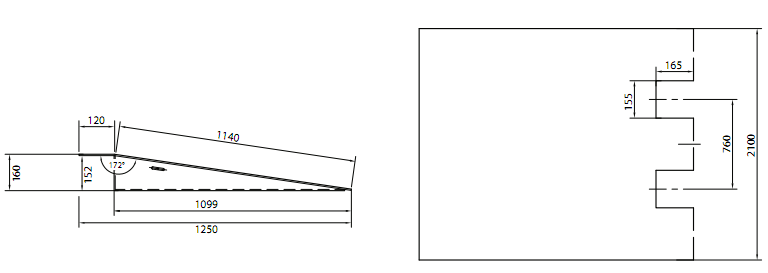 Container ramp dimensions