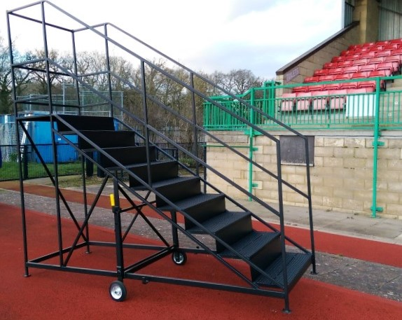 Bespoke Custom mobile step with athletic track stand