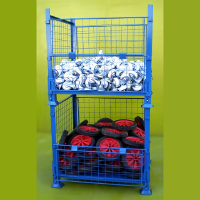 Folding mesh stillage stacked