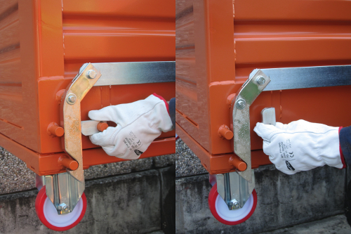 picture of drop bottom skip safety system